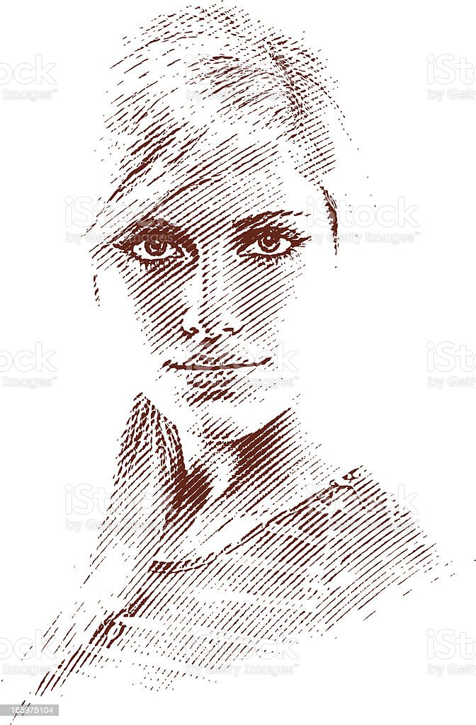 High Key Portrait of Young Woman royalty-free stock vector art