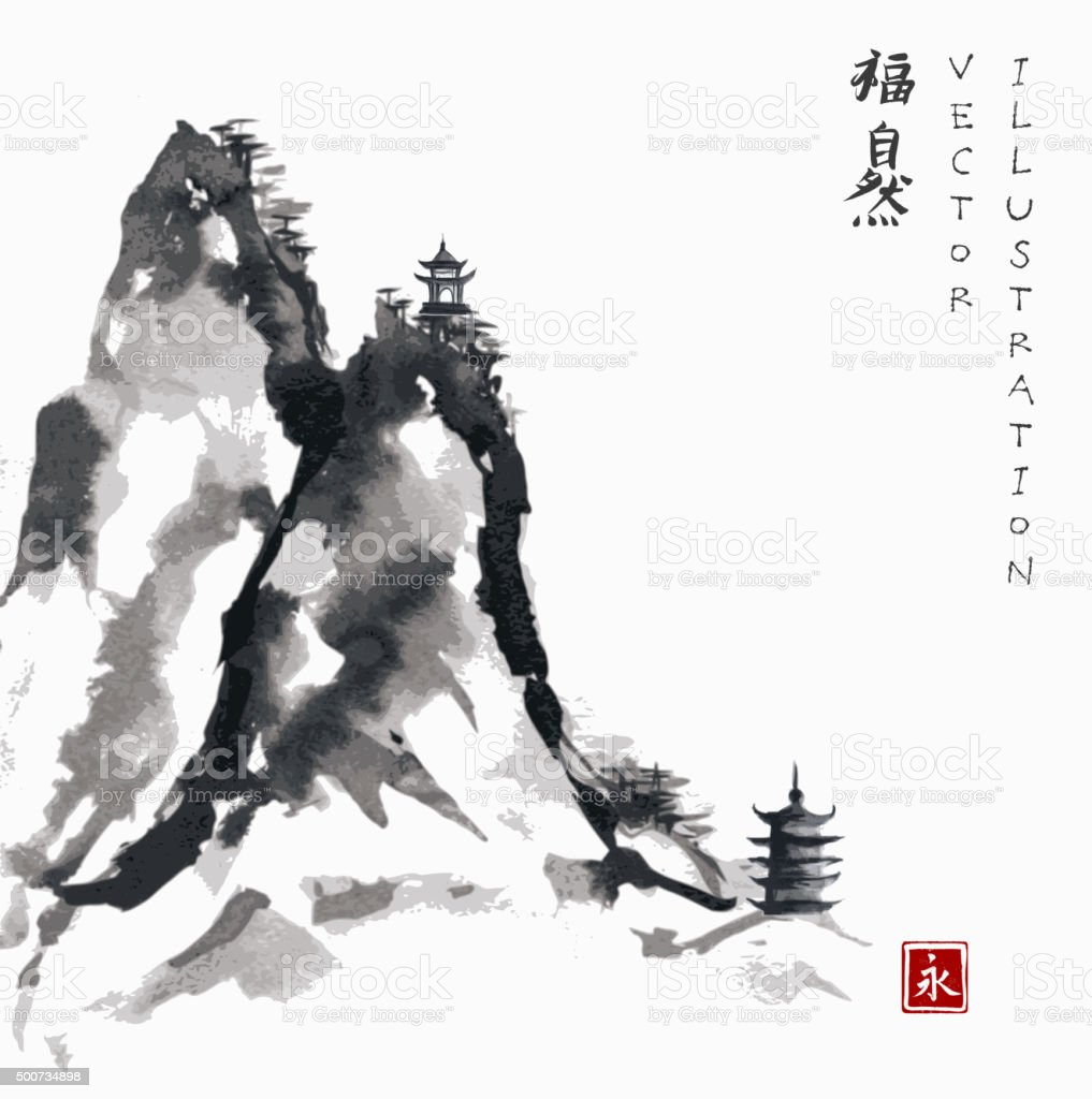 High mountains and two pagodas vector art illustration