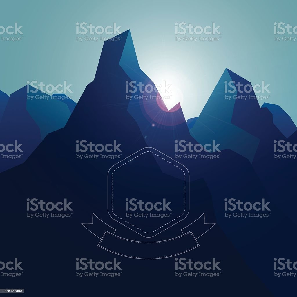 High mountains landscape background with blue gradients and sunries lens vector art illustration