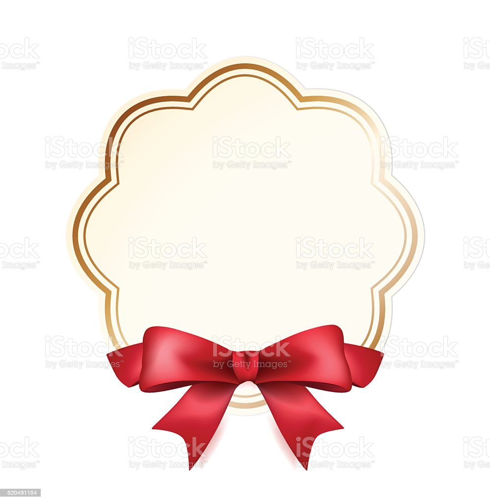 High Quality Label with Red Bow on White Background. vector art illustration