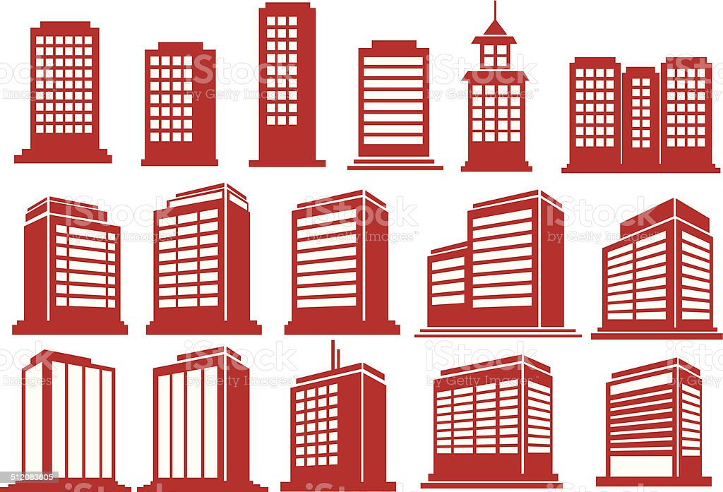 High Rise Buildings Vector Icon Set vector art illustration