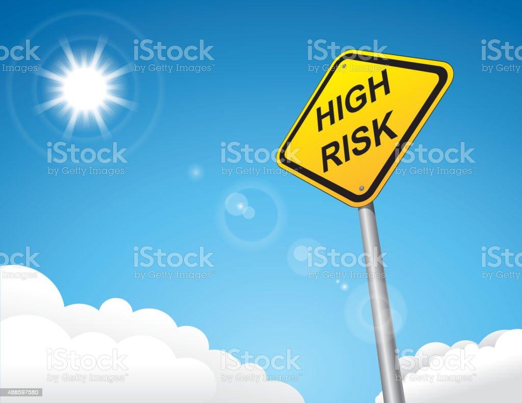 high risk warning road sign vector art illustration