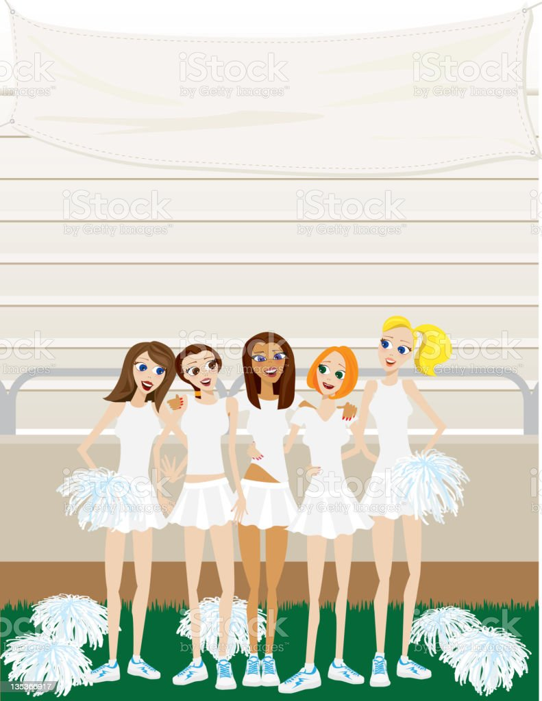 High School Girl Cheerleaders Standing on Field Under Banner royalty-free stock vector art