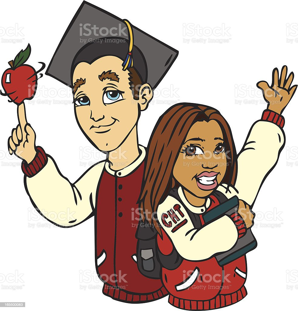 High school kids royalty-free stock vector art