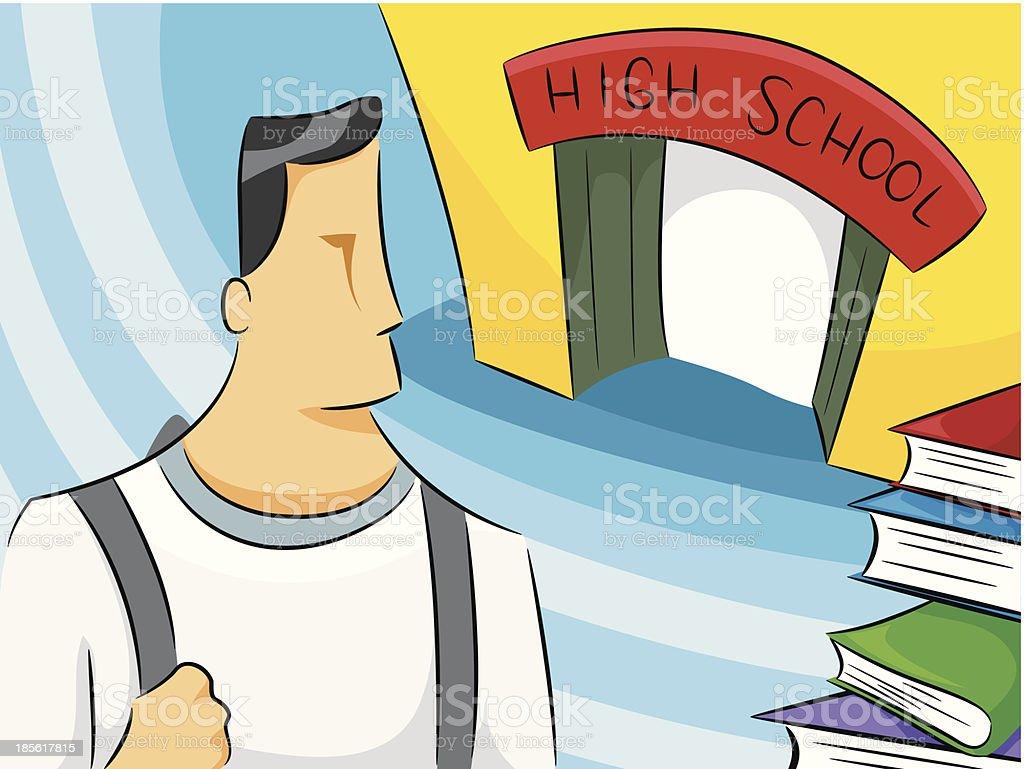 High School Man vector art illustration