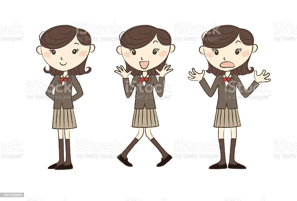 High school studen with various poses vector art illustration