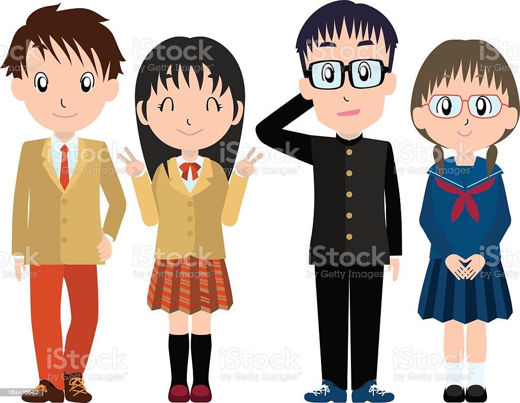 High school students vector art illustration
