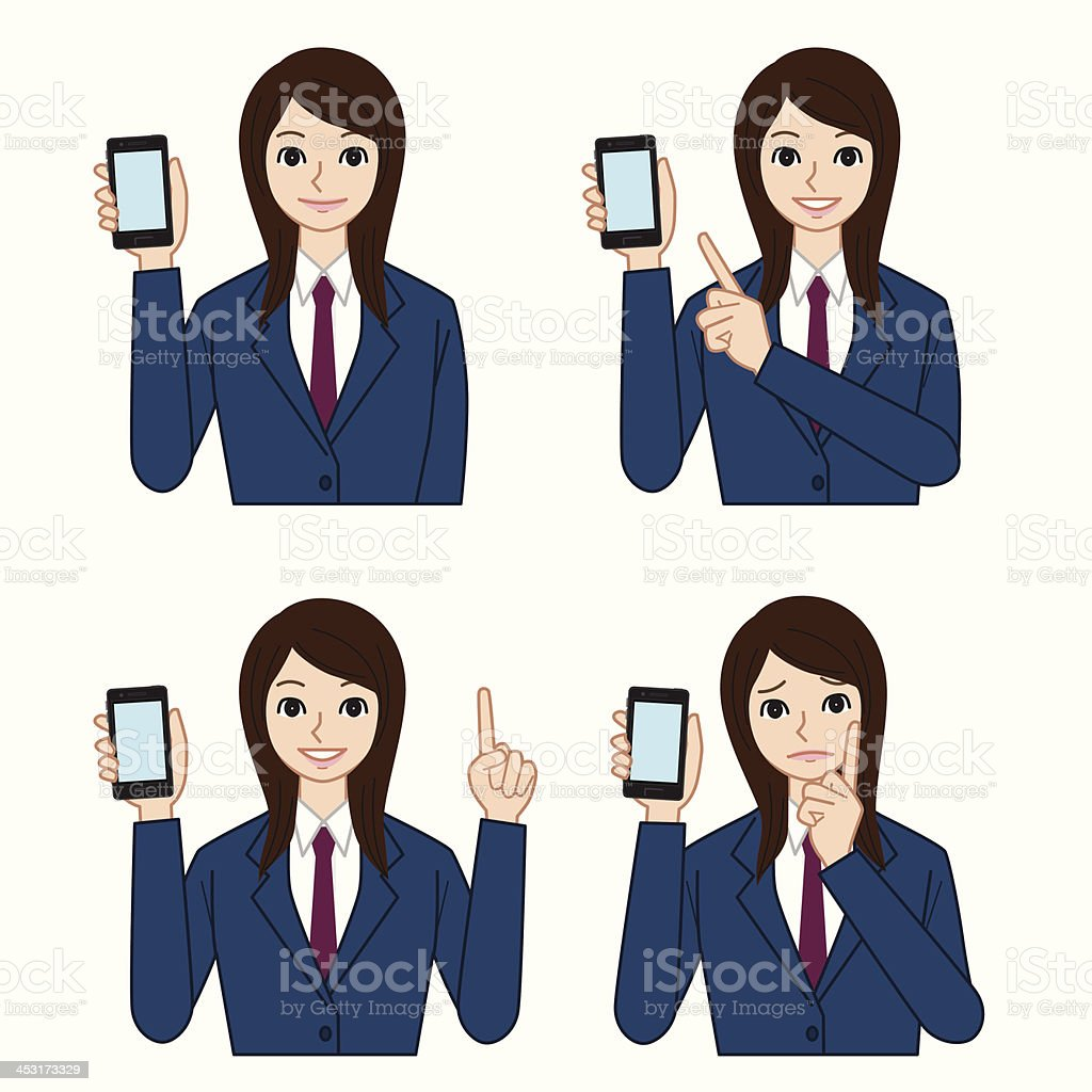 High school students with a smartphone vector art illustration