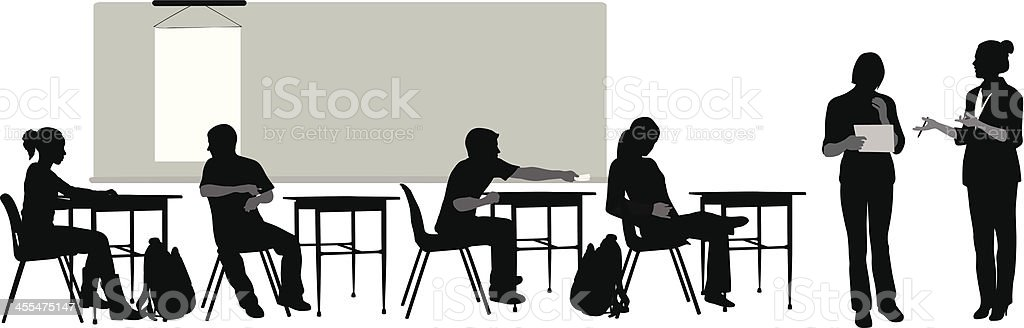 High School Vector Silhouette royalty-free stock vector art