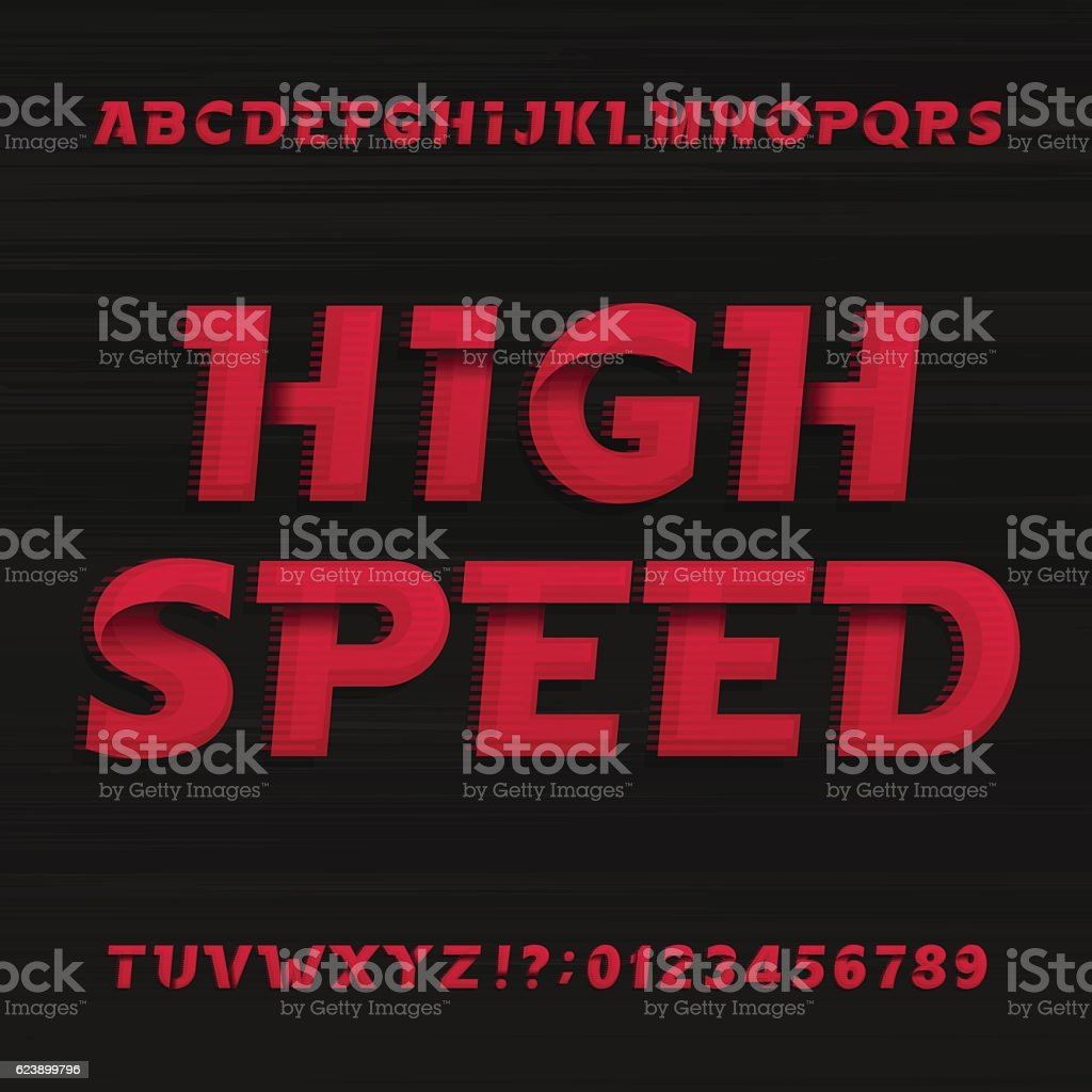 High speed alphabet font. Oblique dynamic letters. vector art illustration