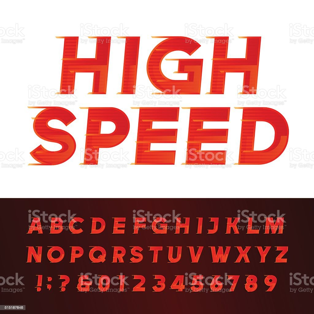 High Speed alphabet vector font. vector art illustration