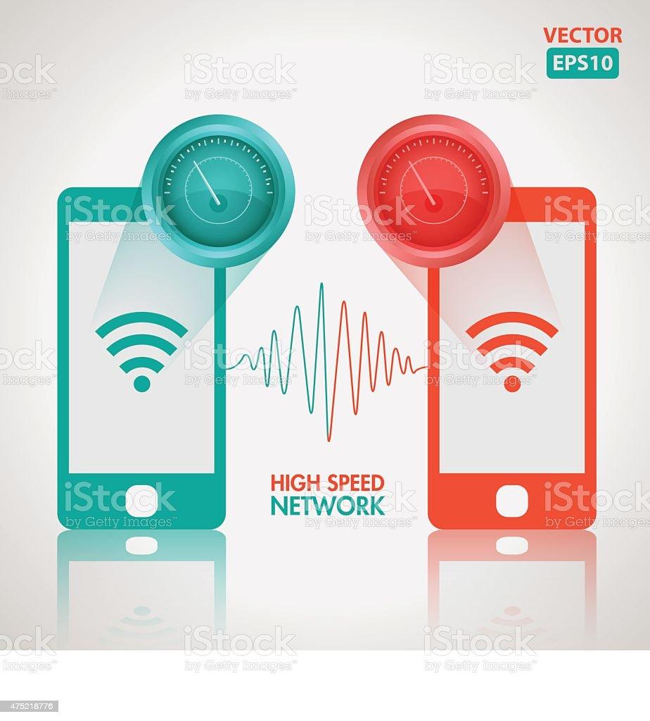 High speed network vector art illustration