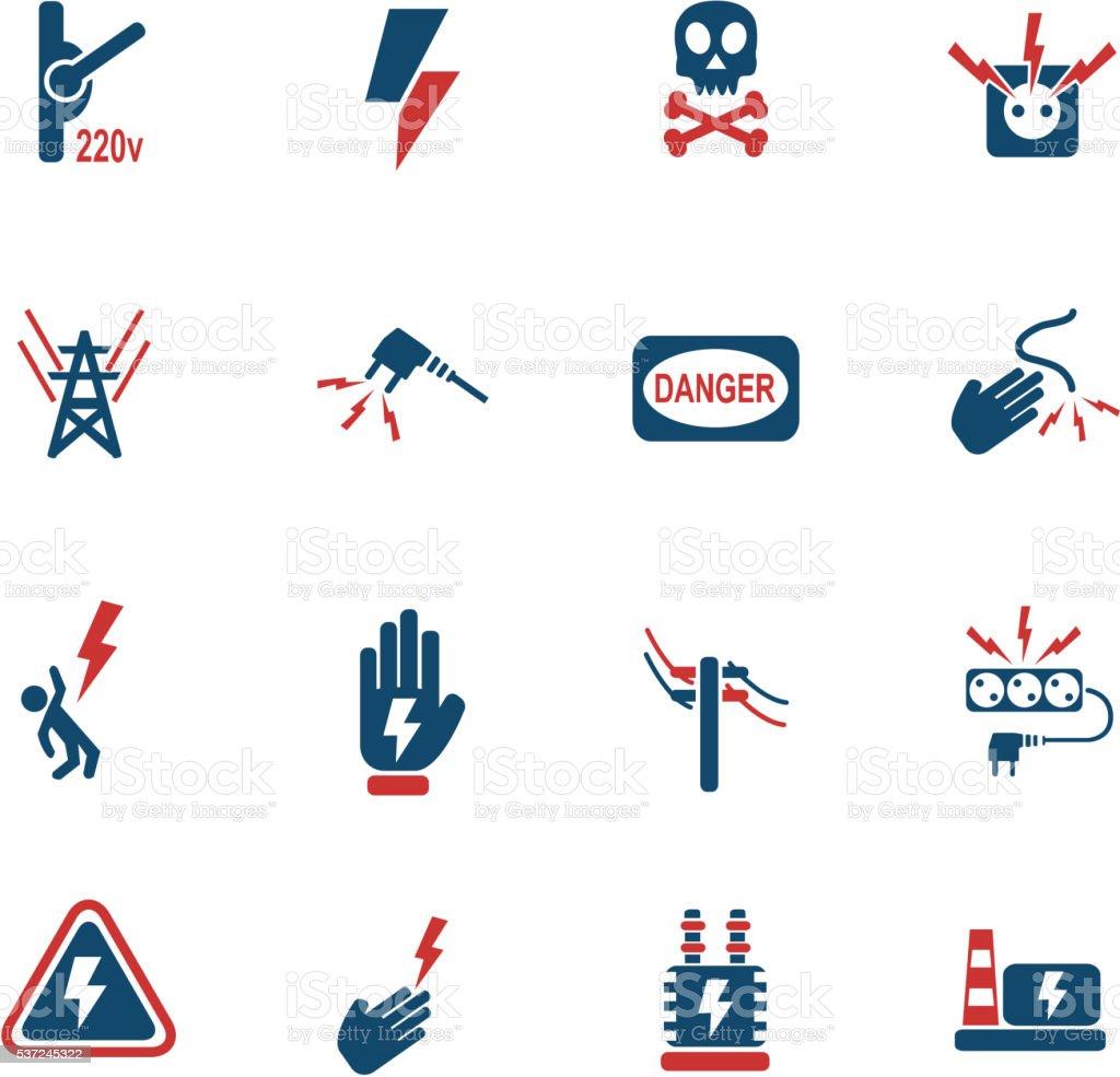 high voltage icon set vector art illustration
