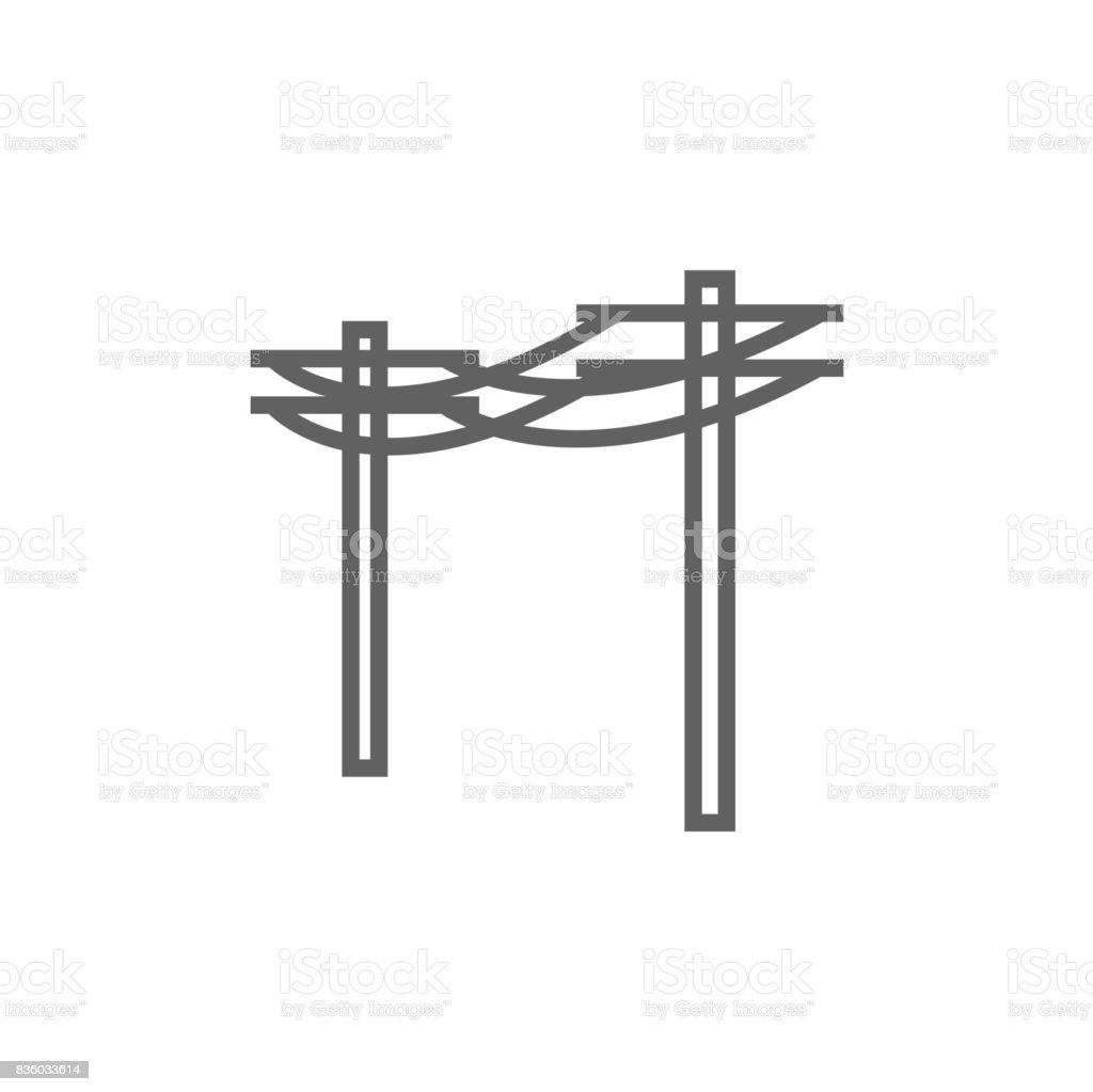 High voltage power lines line icon vector art illustration
