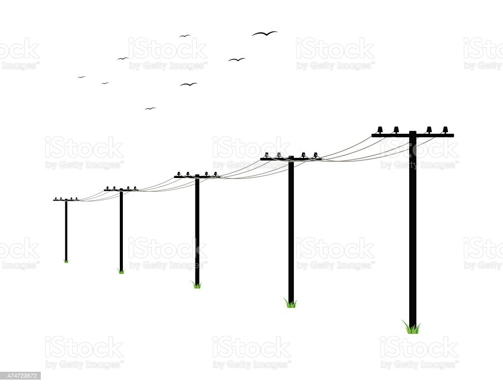 high voltage power lines vector art illustration
