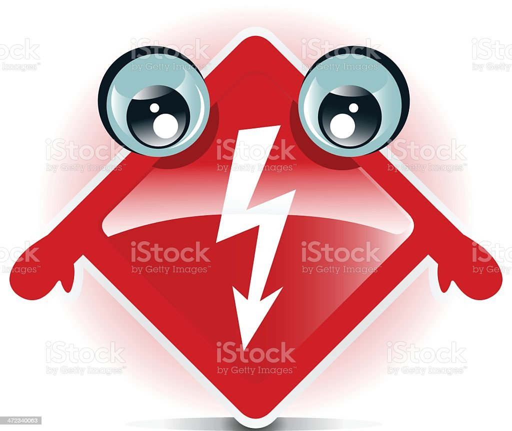 High voltage sign character royalty-free stock vector art