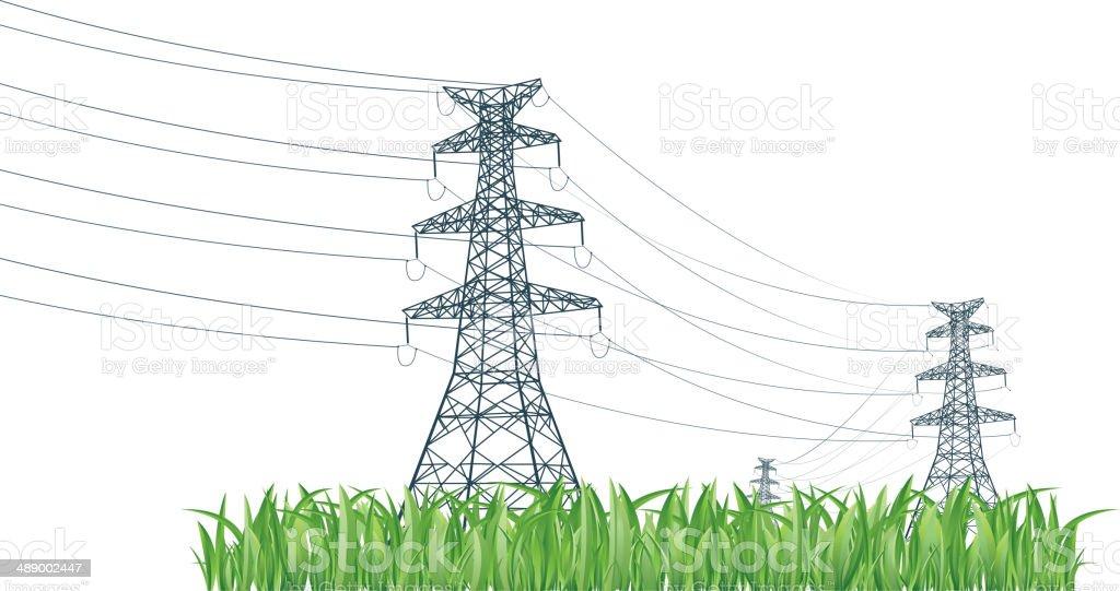 High voltage tower on grass vector art illustration