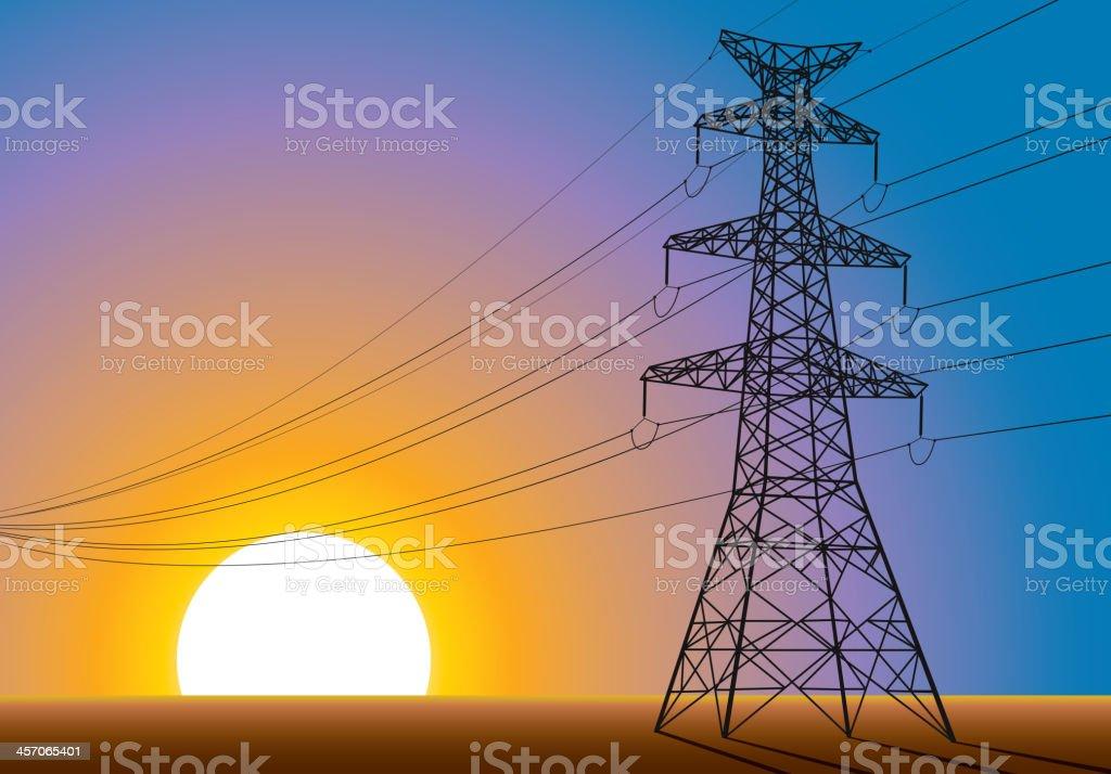 High voltage tower vector art illustration