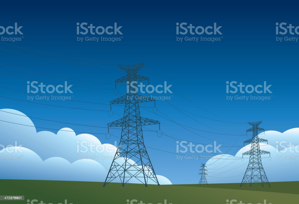 High voltage tower vector art illustration