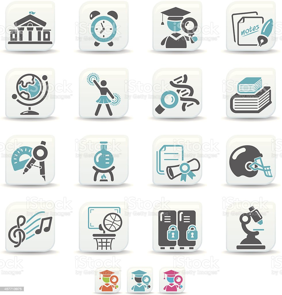 higher education icons | simicoso collection vector art illustration