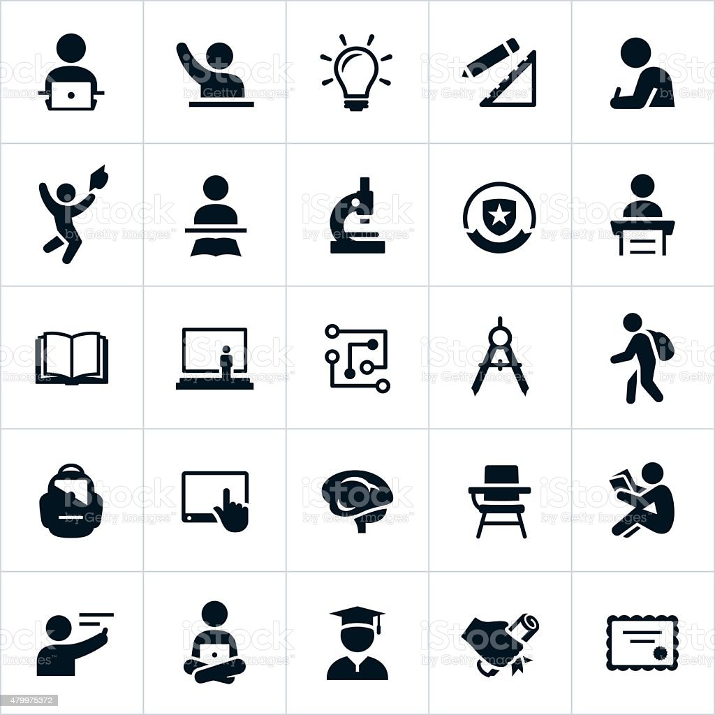Higher Education Icons vector art illustration