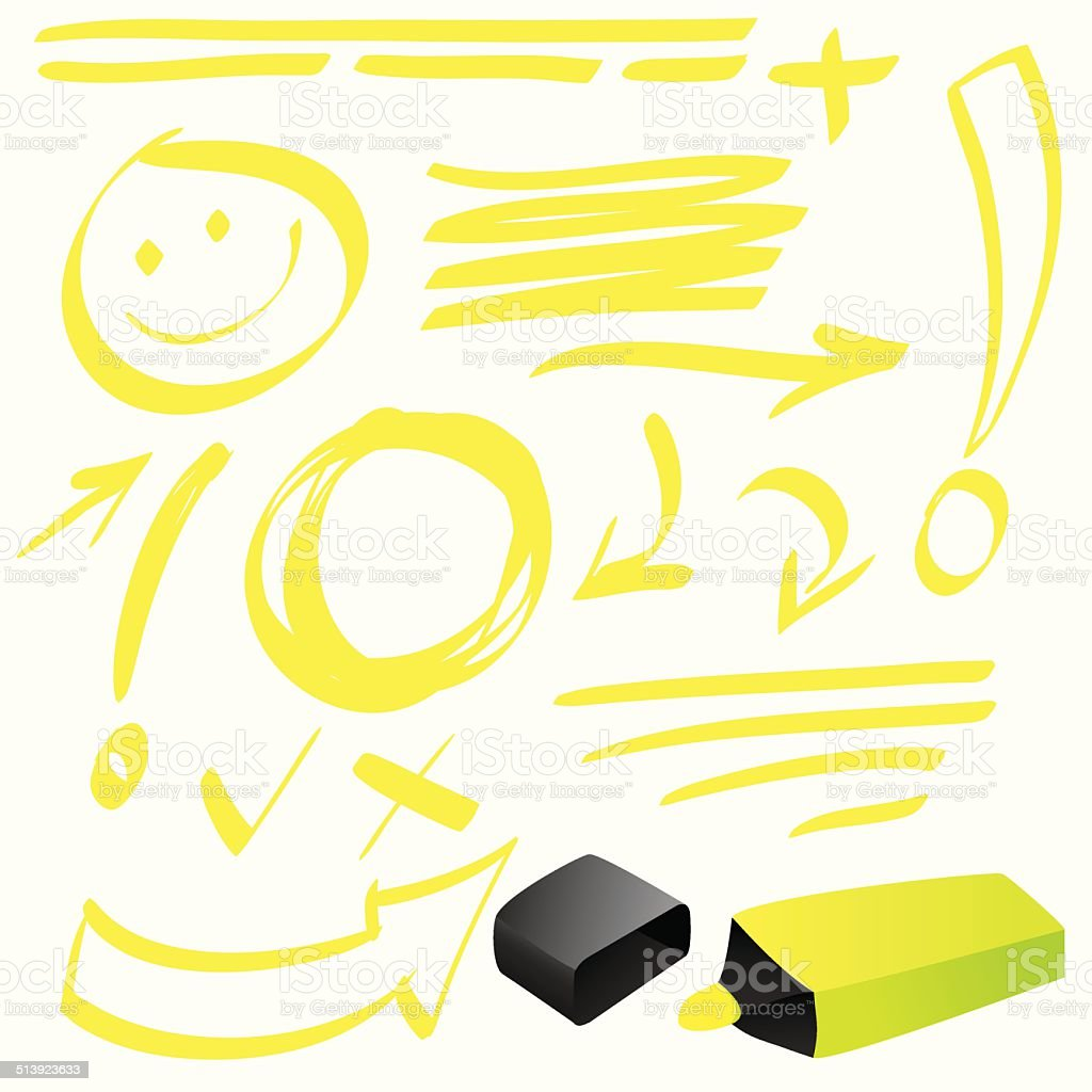 Highlighter Doodle vector art illustration