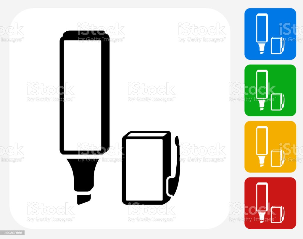 Highlighter Icon Flat Graphic Design vector art illustration