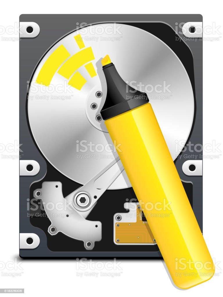 Highlighter marking sectors on a hard disk surface vector art illustration