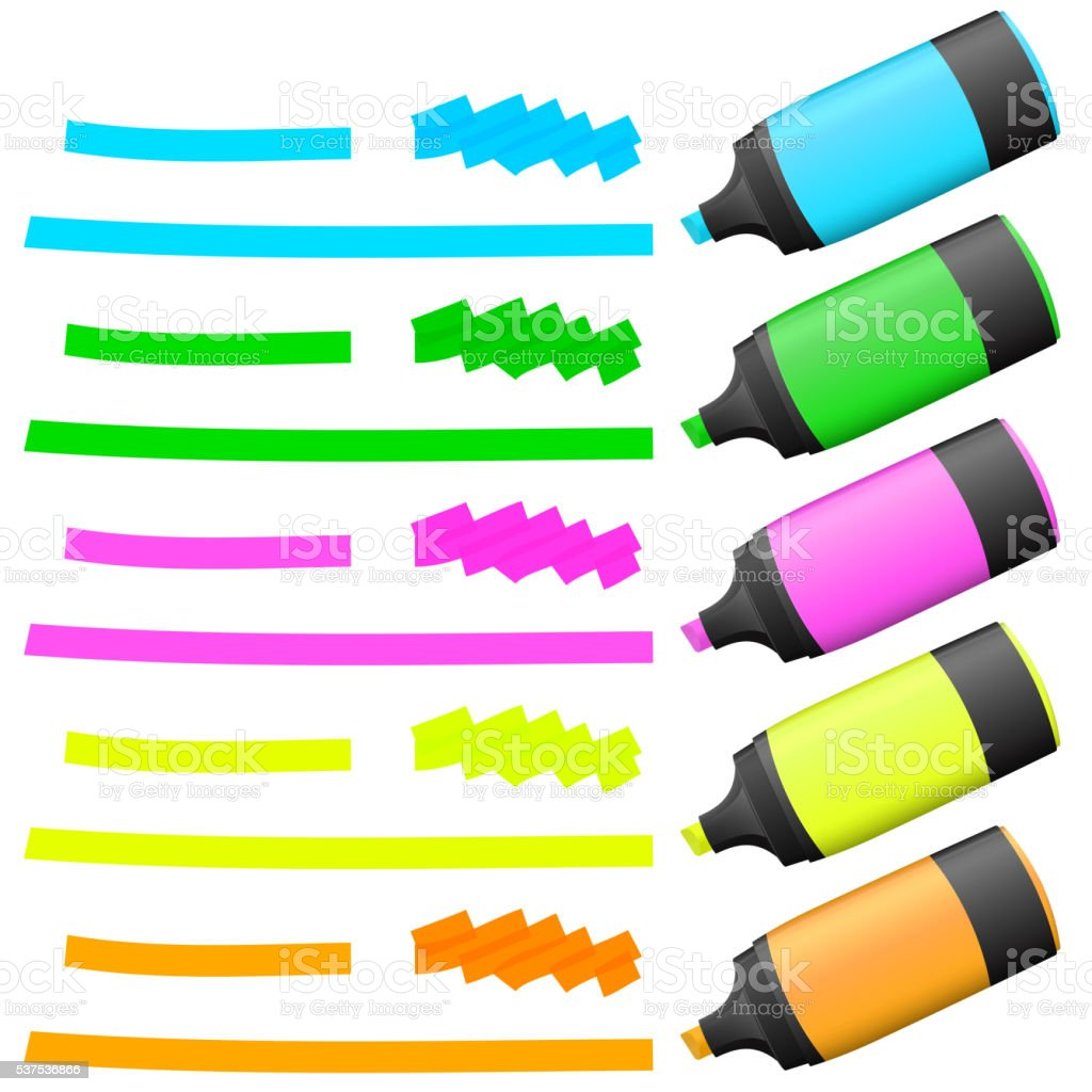 highlighters with markings vector art illustration