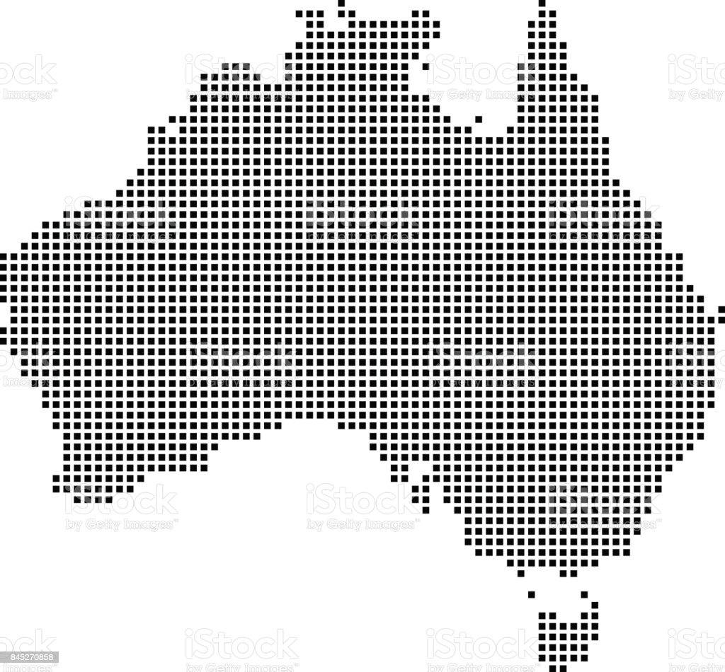 Highly detailed Australia map dots, dotted Australia map vector outline, pixelated Australia map in black and white illustration background vector art illustration