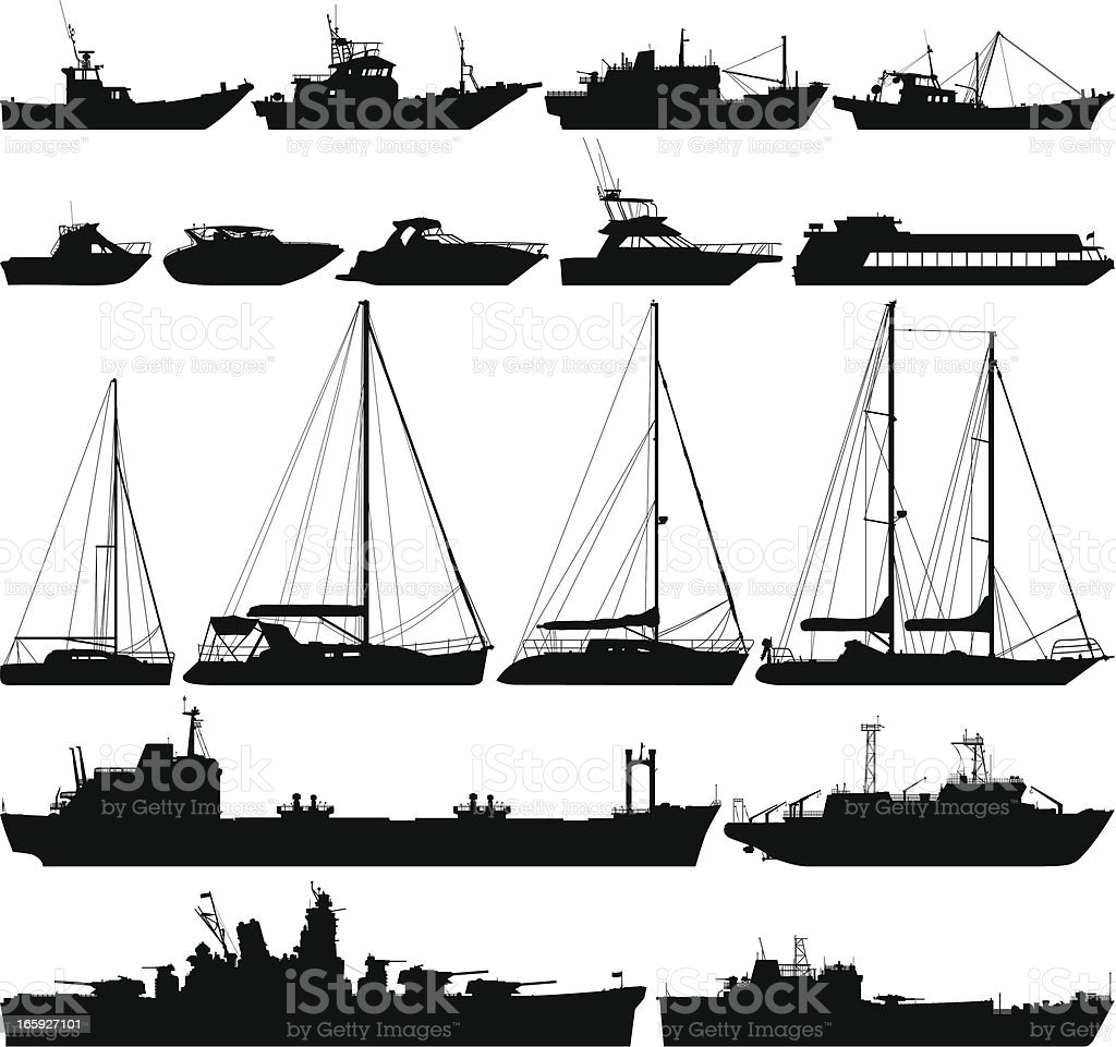 Highly Detailed Boat Silhouettes royalty-free stock vector art