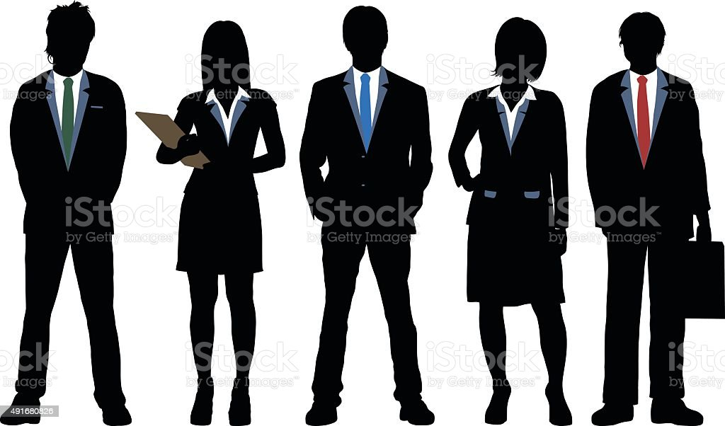 Highly Detailed Business People vector art illustration