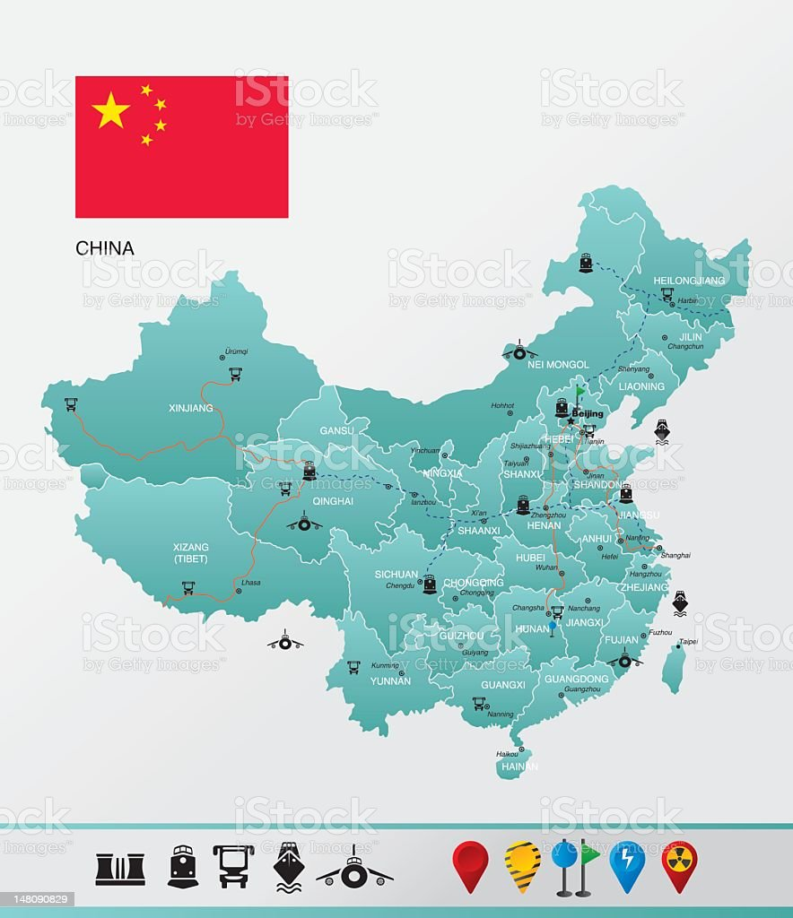 Highly detailed China map vector art illustration