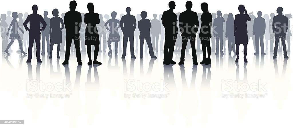 Highly Detailed Crowd (44 Complete, Detailed People) vector art illustration