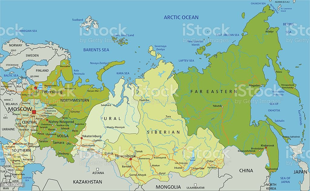 Highly detailed editable political map with separated layers. Russia. vector art illustration