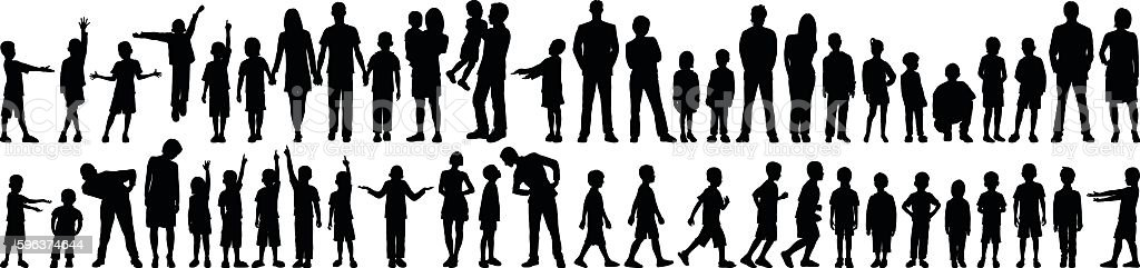 Highly Detailed Families vector art illustration