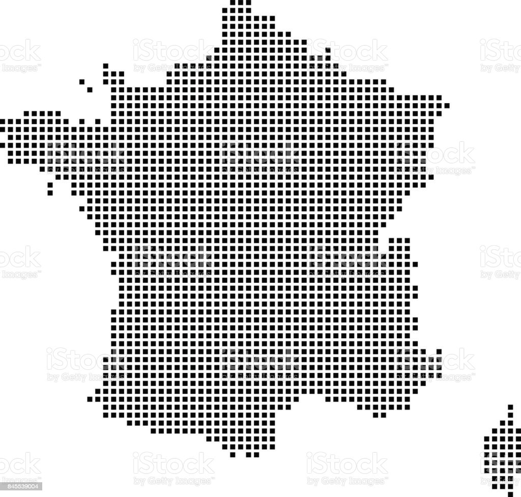 Highly detailed France map dots, dotted France map vector outline, pixelated France map in black and white illustration background vector art illustration