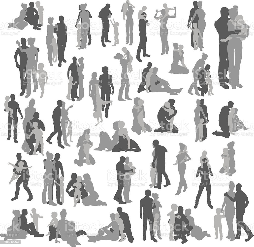 Highly detailed happy family silhouettes vector art illustration