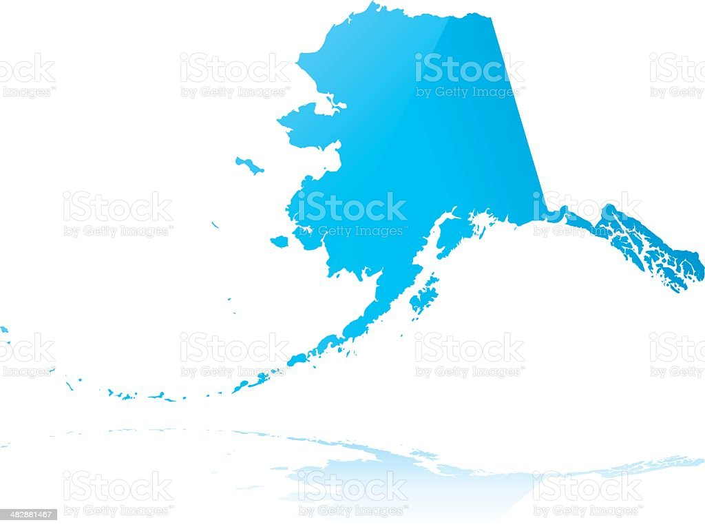 Highly detailed map of Alaska vector art illustration