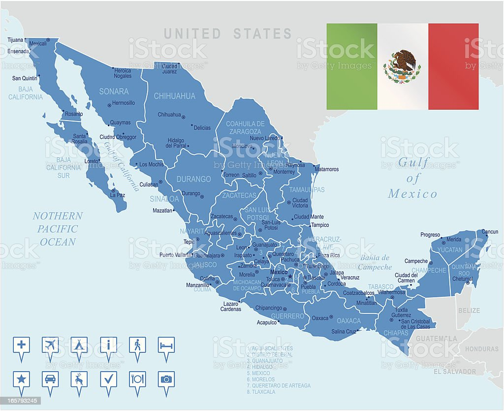 Highly detailed map of Mexico and the bordering waters vector art illustration