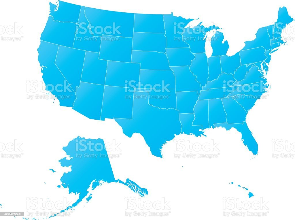 Highly detailed map of the USA - all states outlined royalty-free stock vector art