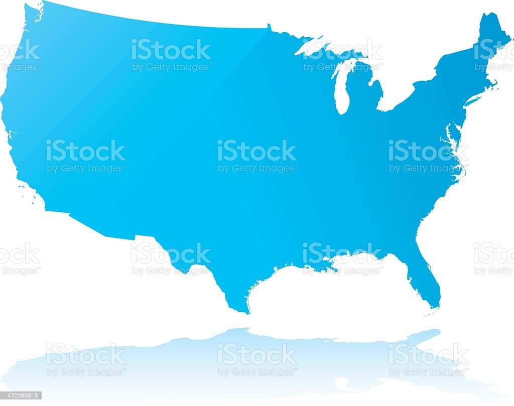 Highly detailed map of the USA royalty-free stock vector art