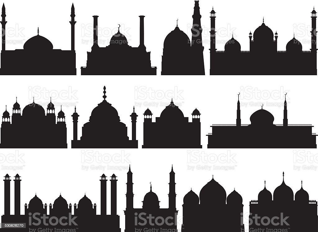 Highly Detailed Mosques Silhouette vector art illustration