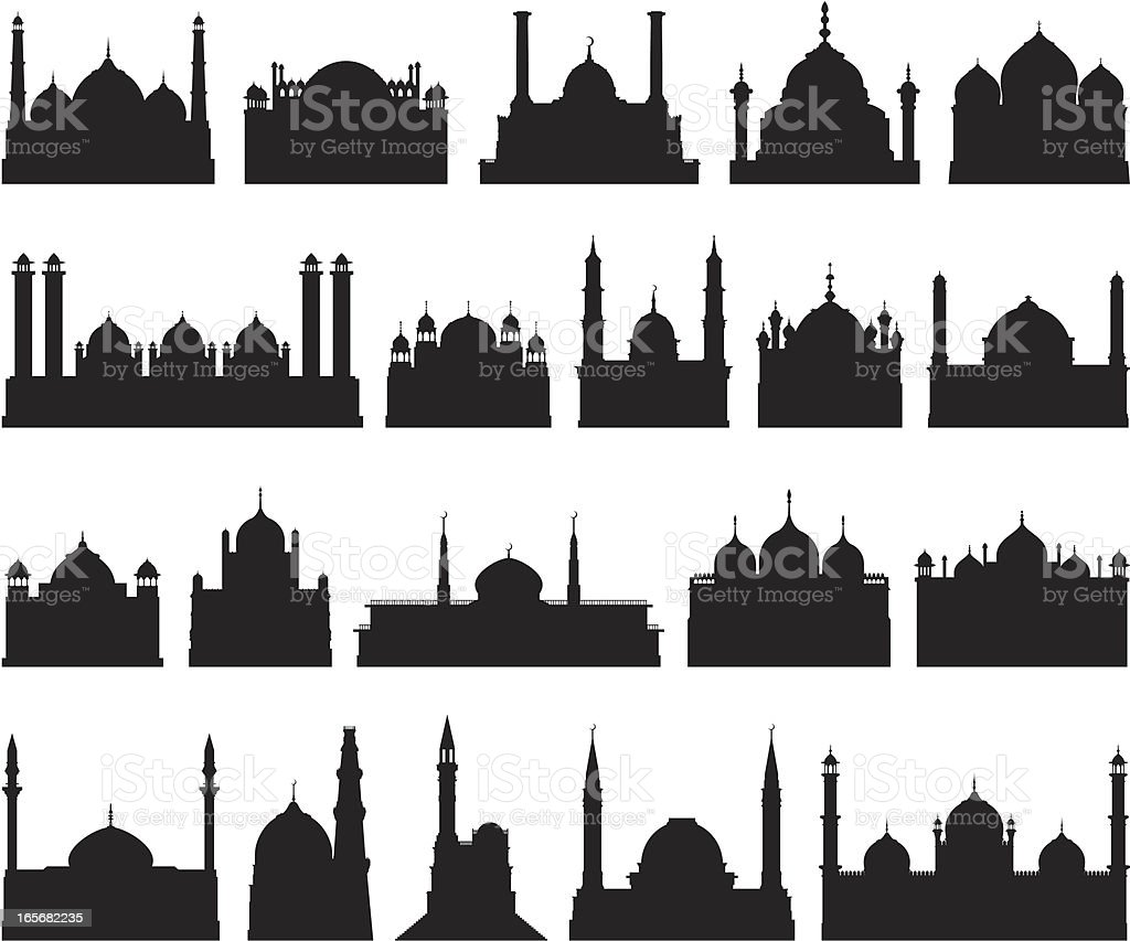 Highly Detailed Mosques vector art illustration