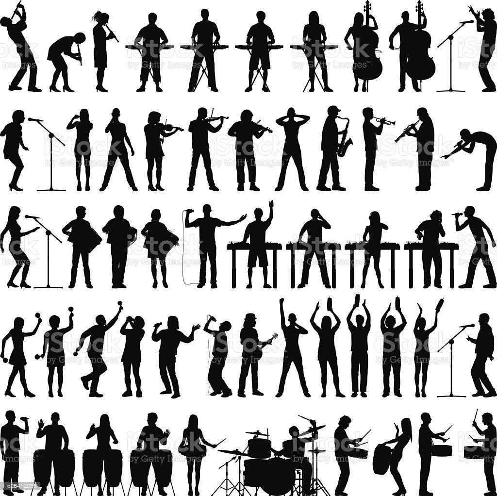 Highly Detailed Musicians vector art illustration