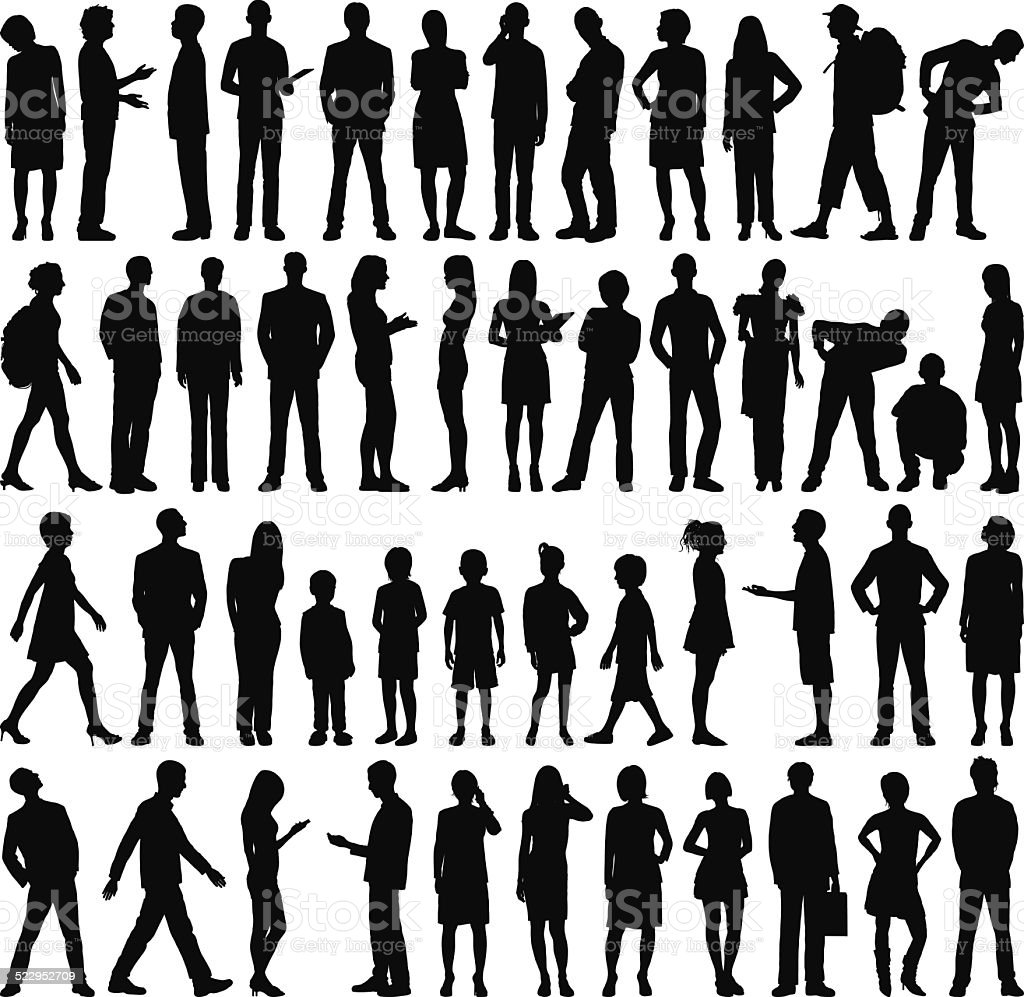 Highly Detailed People Silhouettes royalty-free stock vector art