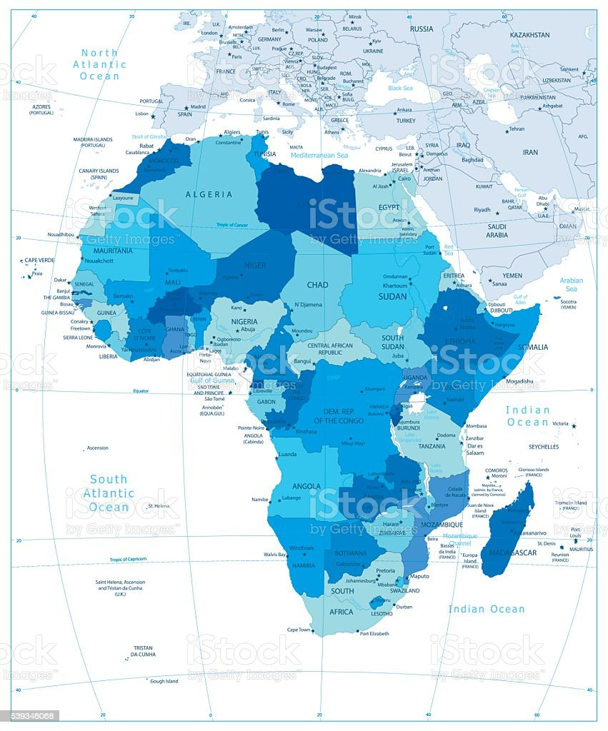 Highly detailed political map of Africa in colors of blue vector art illustration