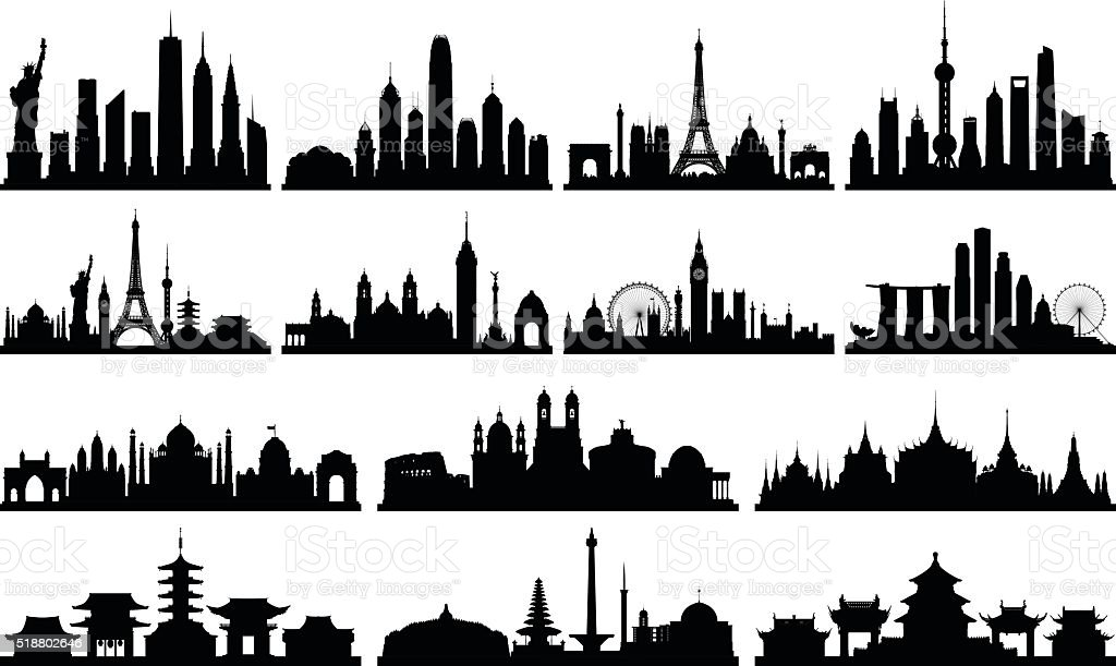 Highly Detailed Skylines (Complete, Moveable Buildings) vector art illustration