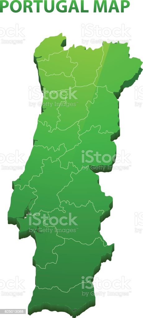 Highly detailed three dimensional map of Portugal with regions border vector art illustration