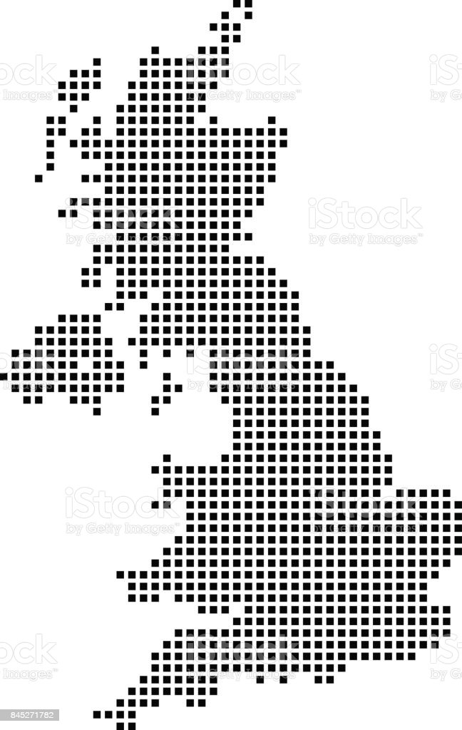 Highly detailed United Kingdom map dots, dotted UK map vector outline, pixelated Great Britain map in black and white illustration background vector art illustration